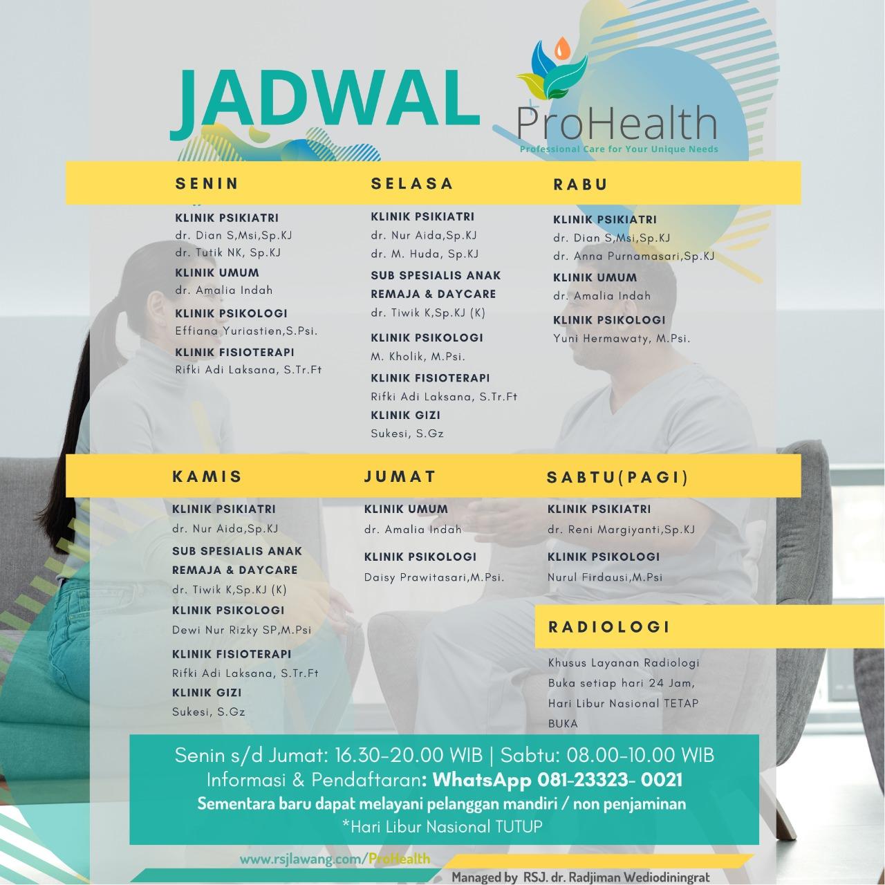Jadwal Pelayanan Pro Health
